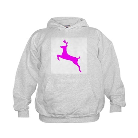 Hot Pink Leaping Deer Kids Hoodie