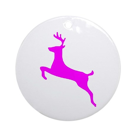 Hot Pink Leaping Deer Ornament (Round)