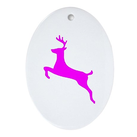 Hot Pink Leaping Deer Oval Ornament
