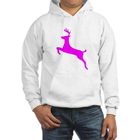 Hot Pink Leaping Deer Hooded Sweatshirt