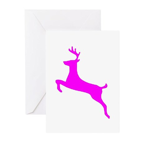 Hot Pink Leaping Deer Greeting Cards (Pk of 10
