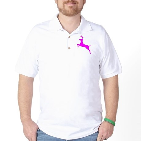Hot Pink Leaping Deer Golf Shirt