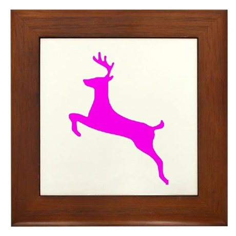 Hot Pink Leaping Deer Framed Tile