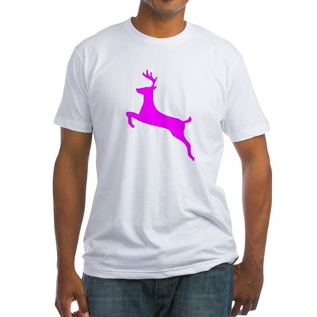 Hot Pink Leaping Deer Fitted T-Shirt