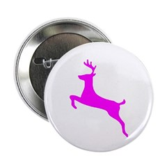 "Hot Pink Leaping Deer 2.25"" Button (100 pack)"