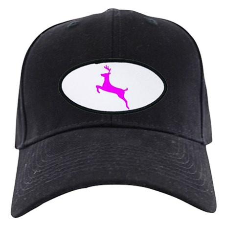 Hot Pink Leaping Deer Black Cap