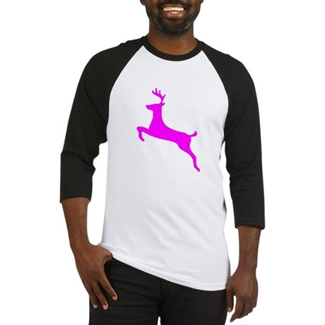 Hot Pink Leaping Deer Baseball Jersey