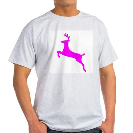 Hot Pink Leaping Deer Ash Grey T-Shirt
