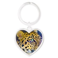 leopard BIG Heart Keychain