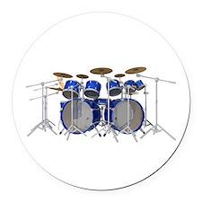 Large Drum Kit: Blue Round Car Magnet