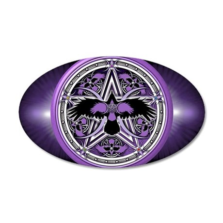 Purple Crow Pentacle Banner 35x21 Oval Wall Decal