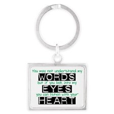 Words Eyes Heart black Landscape Keychain
