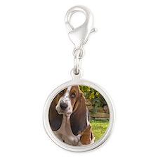 Basset puppy Silver Round Charm
