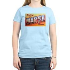 Marfa Texas Greetings (Front) Women's Pink T-Shirt