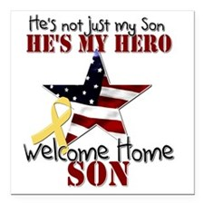 "T1_Son Square Car Magnet 3"" x 3"""