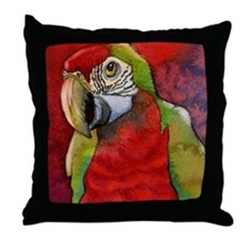 Scarlet Red Macaw Parrot Throw Pillow