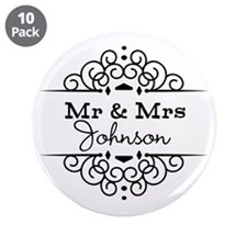 "Personalized Mr and Mrs 3.5"" Button (10 pack)"