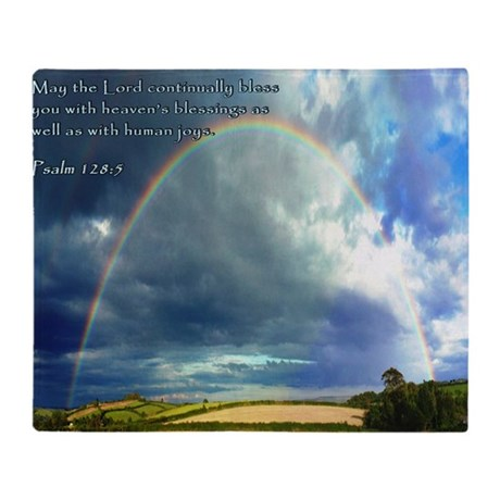 Psalm 128-5 Full Rainbow Throw Blanket