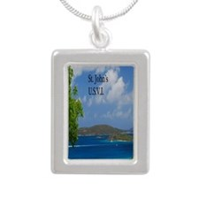 St Johns2.5x3.5 Silver Portrait Necklace
