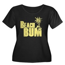 beach bu Women's Plus Size Dark Scoop Neck T-Shirt
