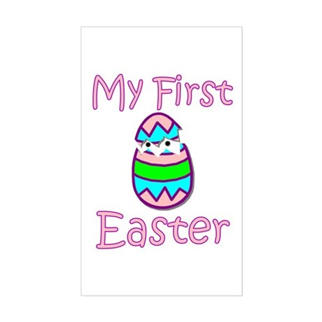 Girl First Easter Rectangle Sticker