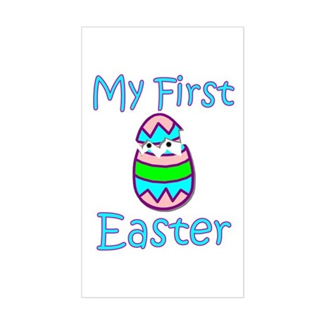 Boy First Easter Rectangle Sticker