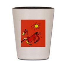 horse_sun_orange_fun clock Shot Glass