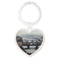 Bridges of Florence Italy Heart Keychain