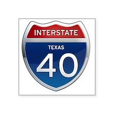 "Interstate 40 - Texas Square Sticker 3"" x 3"""
