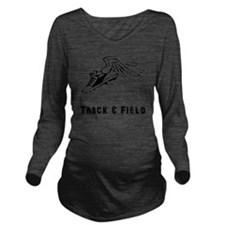 Track Field Black On Long Sleeve Maternity T-Shirt