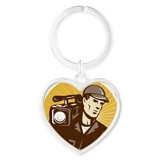 cameraman filmcrew with video movie Heart Keychain