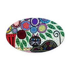 House Cat and House Plant Oval Car Magnet