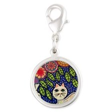 White House Cat Silver Round Charm