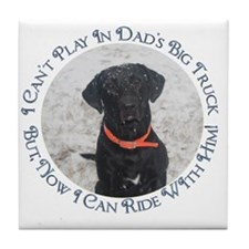 Black Labrador Retriever  Big  Truck Tile Coaster