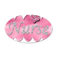 Nurse with diamonds copy Oval Car Magnet