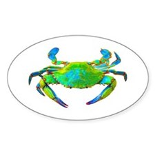 """Neon"" Blue Crab Oval Decal"