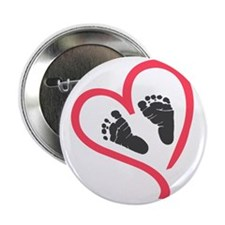 "baby feet heart 2.25"" Button"