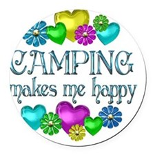 CAMPING Round Car Magnet