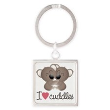 I Love Cuddles Square Keychain