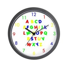 Primary Colors Alphabet Wall Clock