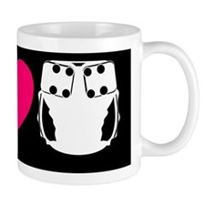peacelovecloth 2 black bg pink heart Coffee Mug