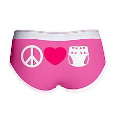 peacelovecloth 2 black bg pink h Women's Boy Brief