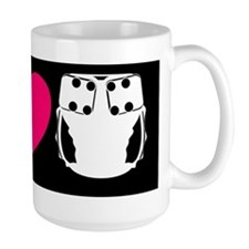 peacelovecloth 2 black bg pink heart d Mug