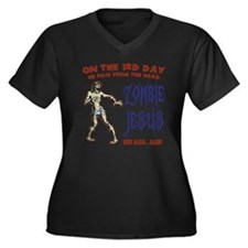 zombie-jesus Women's Plus Size Dark V-Neck T-Shirt