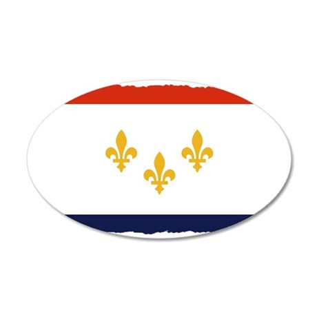 new orleans flag 2222 35x21 Oval Wall Decal