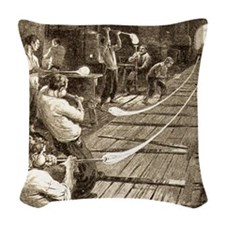 pulling_glass_tubes2 Woven Throw Pillow