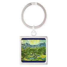Van Gogh olive trees Square Keychain