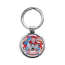 American Pride Westie Round Keychain