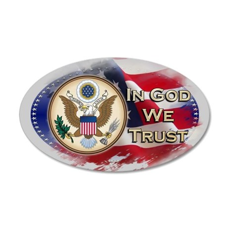 USA In God We Trust 35x21 Oval Wall Decal