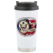 USA In God We Trust Ceramic Travel Mug